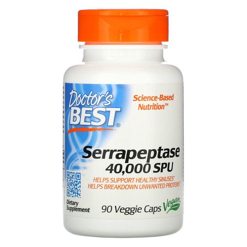 Серрапептаза, 40,000 SPU, Doctor's Best, 90 капсул