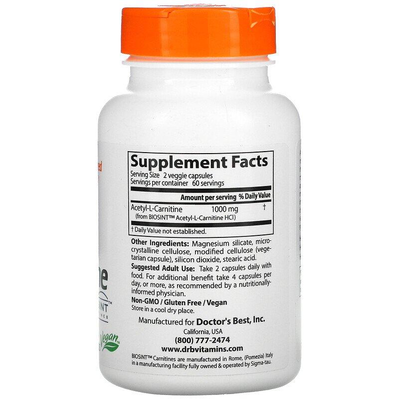 Ацетил -L карнитин, Doctor's Best, 500 мг.
