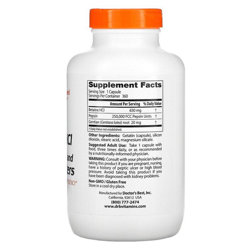 Бетаина гидрохлорид и пепсин, Doctor's Best