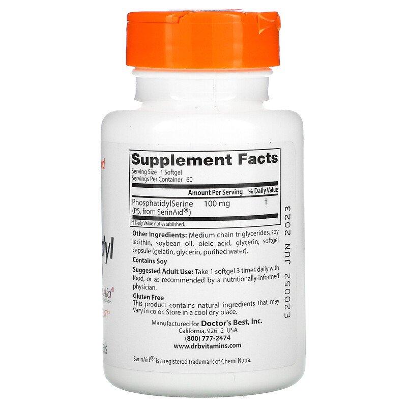 Фосфатидилсерин (Phosphatidylserine), Doctor's Best, 100 мг, 60 капсул