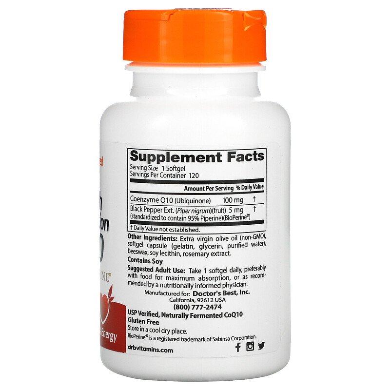 Коэнзим  Q10, Doctor's Best, 100 мг, 120 капсул