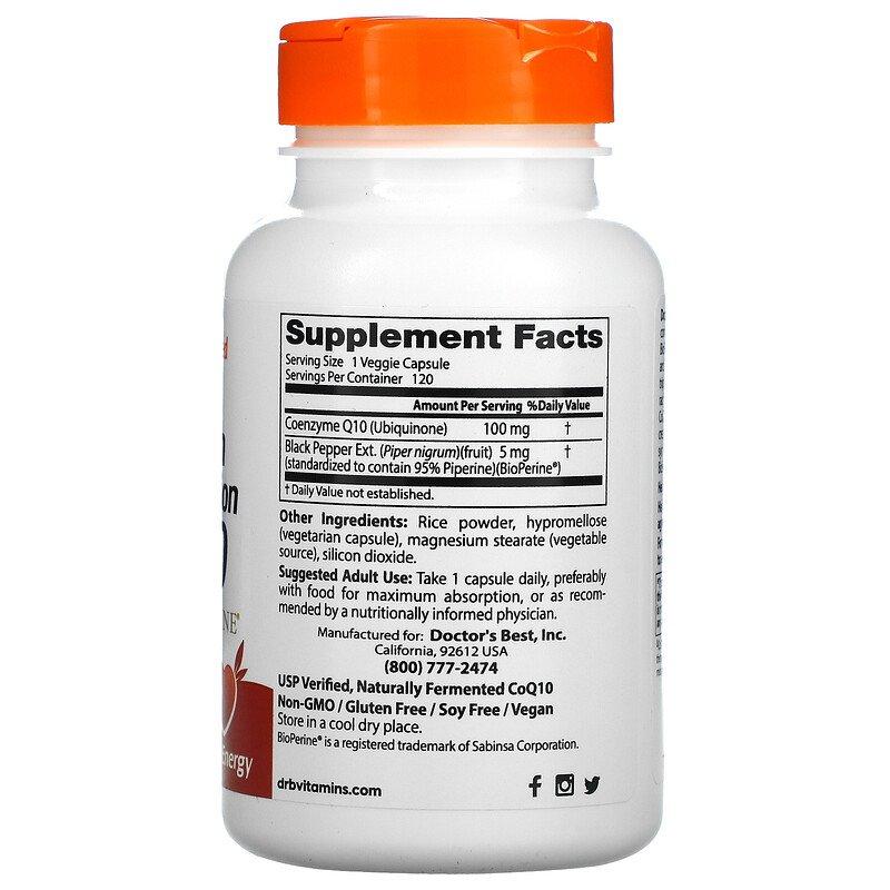 Коэнзим  Q10 с биоперином, Doctor's Best, 100 мг.