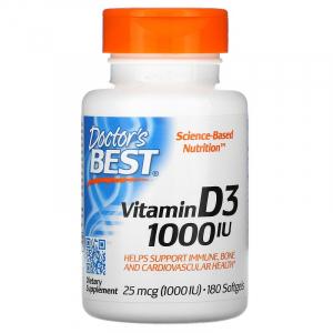 Витамин D3, Doctor's Best, 1000 МЕ, 180 капсул
