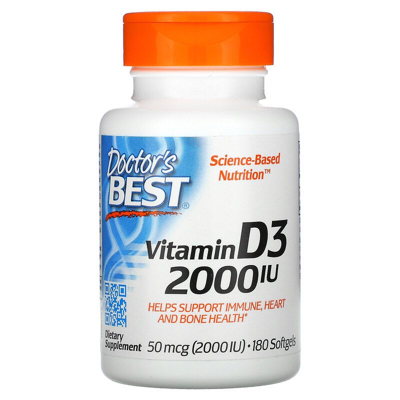 Витамин D3, Doctor's Best, 2000 МЕ, 180 капсул
