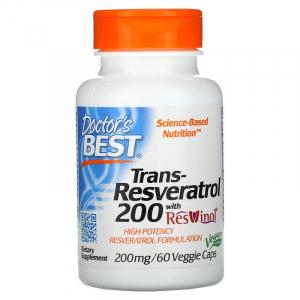 Ресвератрол, Doctor's Best, 200 мг, 60 капсул