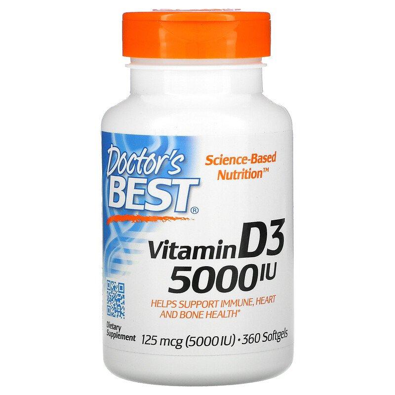 Витамин D3, Doctor's Best, 5000 МЕ
