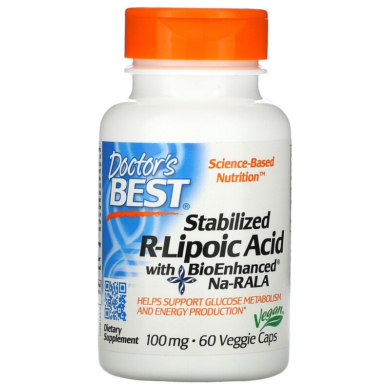 R-липоевая кислота, Doctor's Best, 100 мг.