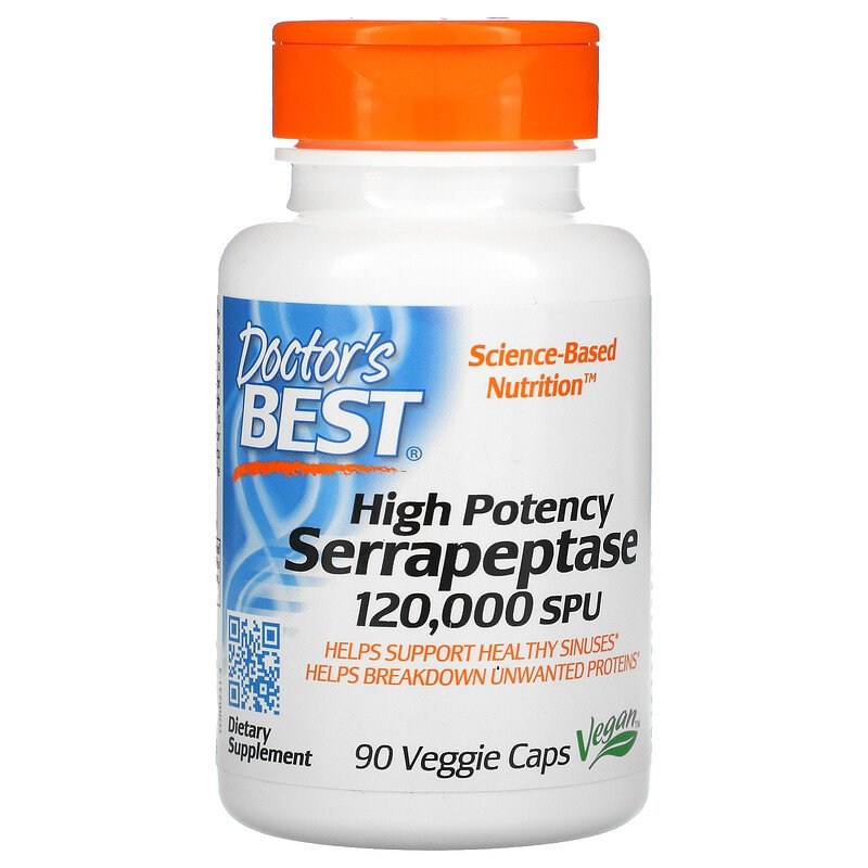 Серрапептаза, 120,000 SPU,  Doctor's Best, 90 капсул