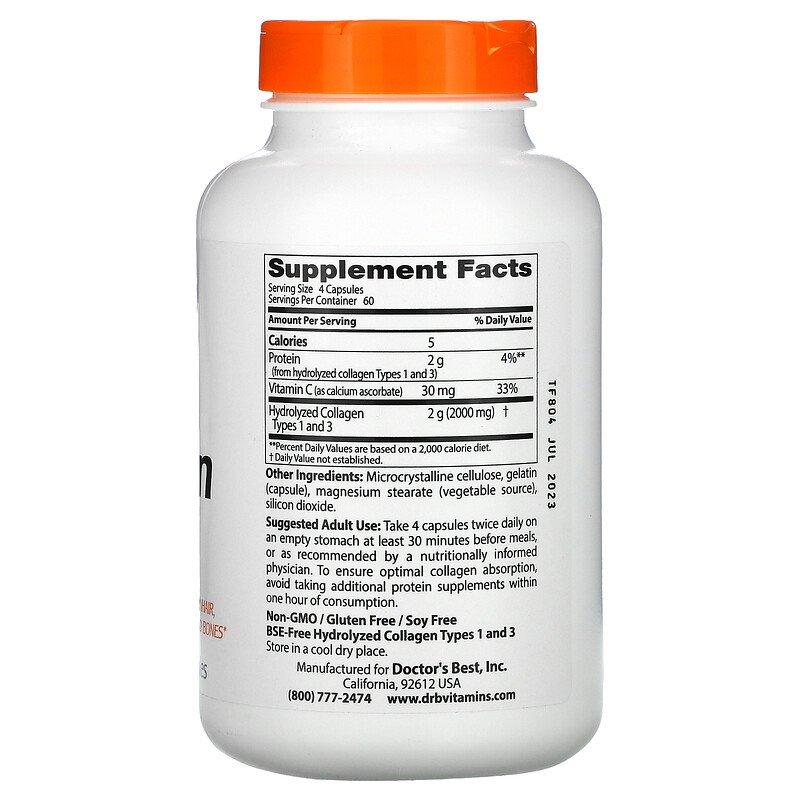 Коллаген тип 1 и тип 3, Doctor's Best, 500 мг, 240 капсул