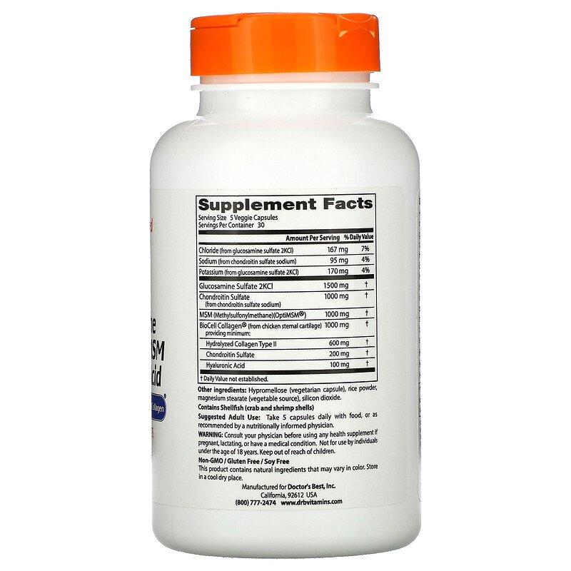 Глюкозамин, хондроитин, МСМ, гиалуроновая кислота, Doctor's Best, 150 капсул