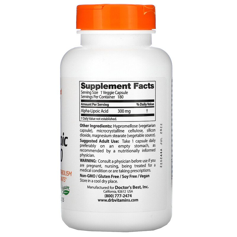 Альфа-липоевая кислота, Doctor's Best, 300 мг, 180 капсул