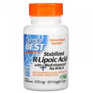 R-липоевая кислота, Doctor's Best, 200 мг, 60 капсул