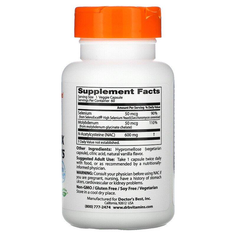 N-ацетинцистеин (ацетилцистеин), Doctor's Best, 60 капсул