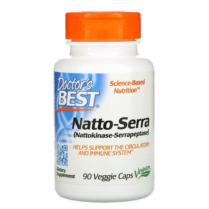 Наттокиназа и серрапептаза, Doctor's Best,  90 капсул