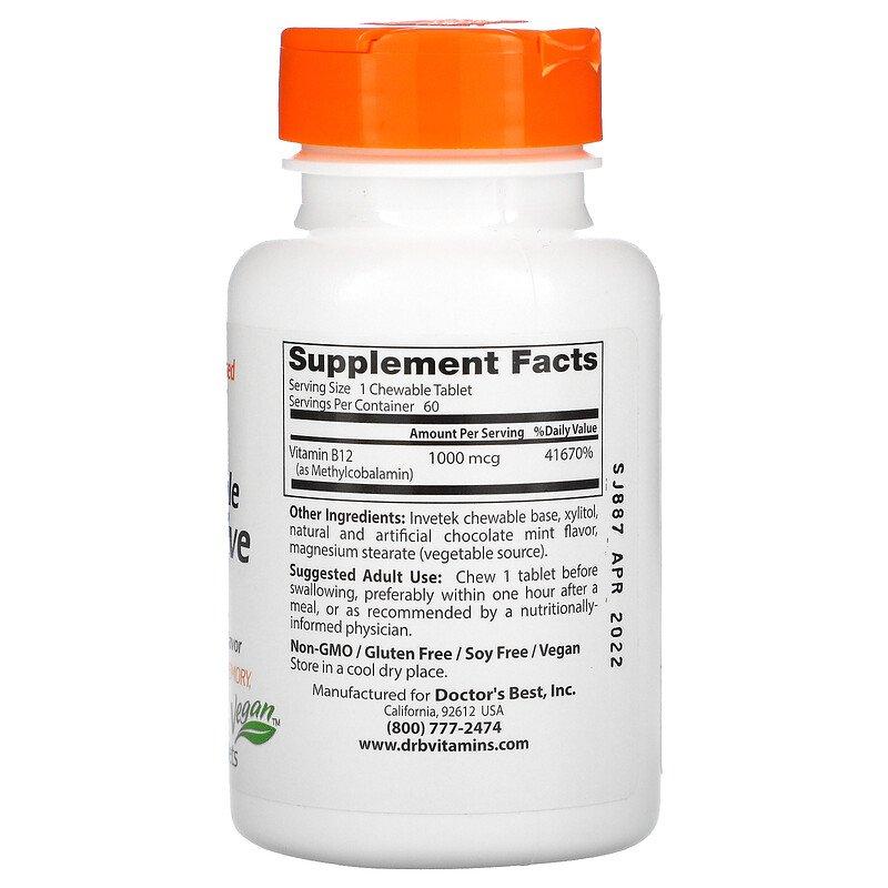 Витамин В12 (метилкобаламин), 1000 мкг., Doctor's Best, 60 таблеток