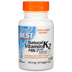 Витамин К2, МК-7, Doctor's Best, 100 мкг, 60 капсул