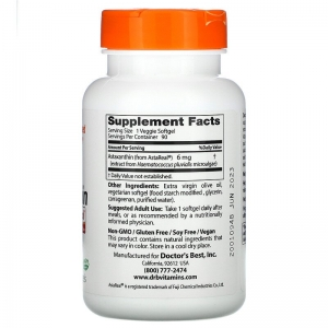 Астаксантин, Doctor's Best,  6,6 мг, 90 капсул