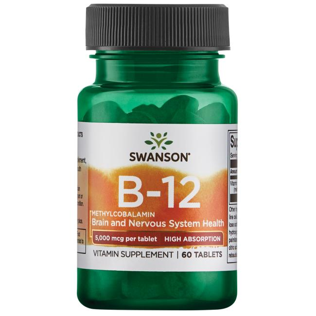 Витамин В12 (метилкобаламин),Swanson, 5000 мкг, клубничный вкус, 60 таблеток