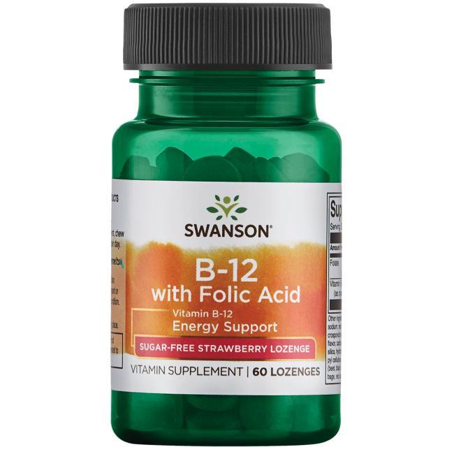 Витамин В-12 и фолиевая кислота, Swanson, вкус клубники, 60 леденцов