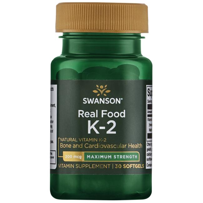 Витамин К2, Swanson, 200 мкг, 30 гелевых капсул