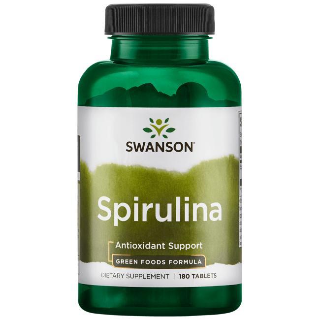 Спирулина, GreenFoods, Swanson, 500 мг, 180 таблеток