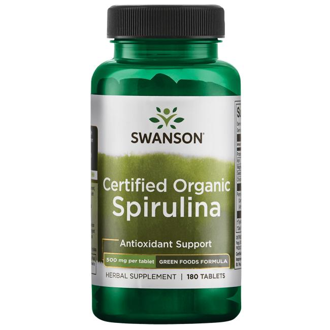 Органическая спирулина, Swanson, 500 мг, 180 таблеток