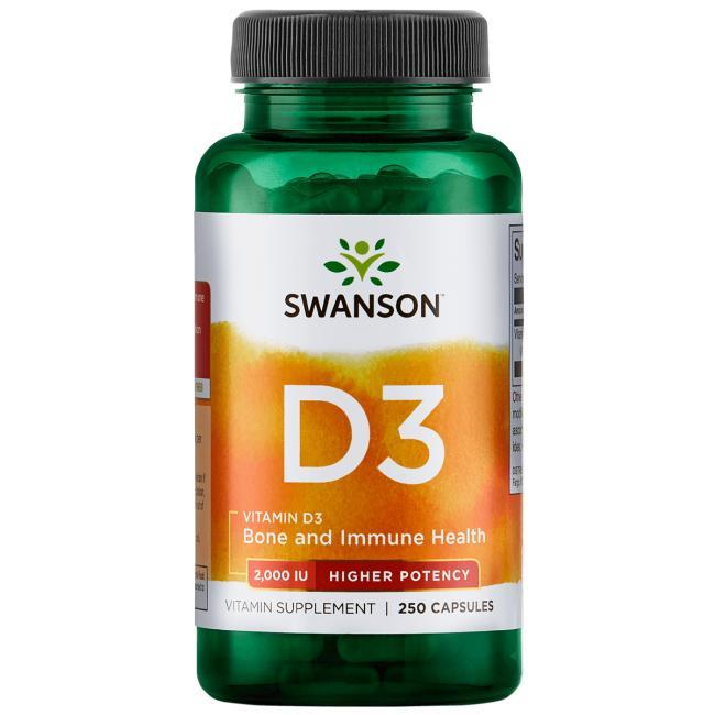 Витамин D3, Swanson, 2000 МЕ (50мкг), 250 капсул