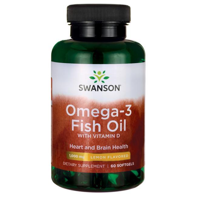 Омега-3 рыбий жир с витамином Д, Swanson, 1000 мг, вкус лимона,  60 гелевых капсул