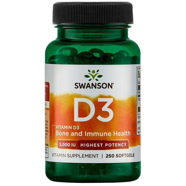 Витамин D3, Swanson, 5000 МЕ, 250 гелевых капсул