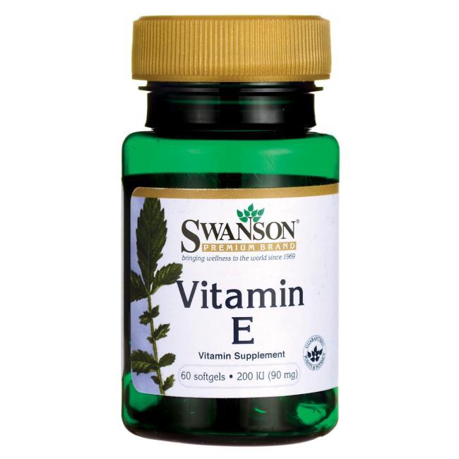 Витамин Е, Swanson, 200 МЕ (90 мг), 60 гелевых капсул