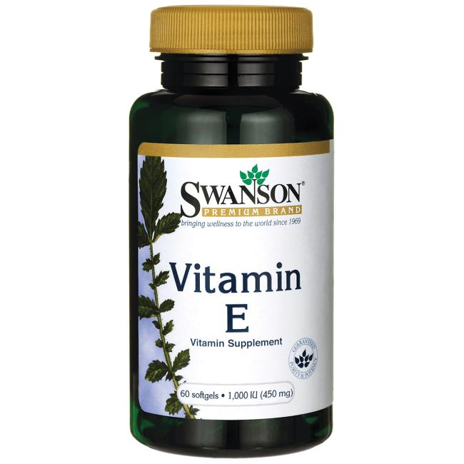 Витамин Е, Swanson, 1000 МЕ (450 мг), 60 гелевых капсул