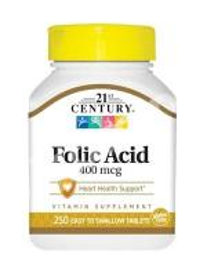 Фолиевая кислота, 21st Century Health Care, 400, 250 табл.