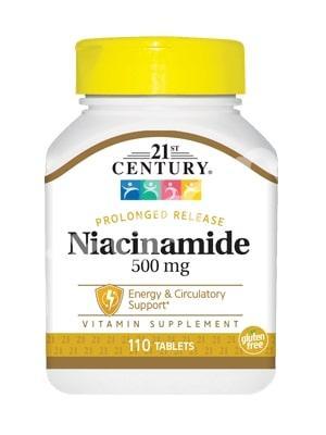 Витамин В3, ниацинамид, 21st Century Health Care, 500 мг, 110 т.