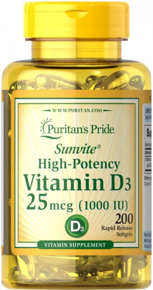Витамин D-3, 25 мкг.,(1000 МЕ), Puritan's pride, 200 капсул