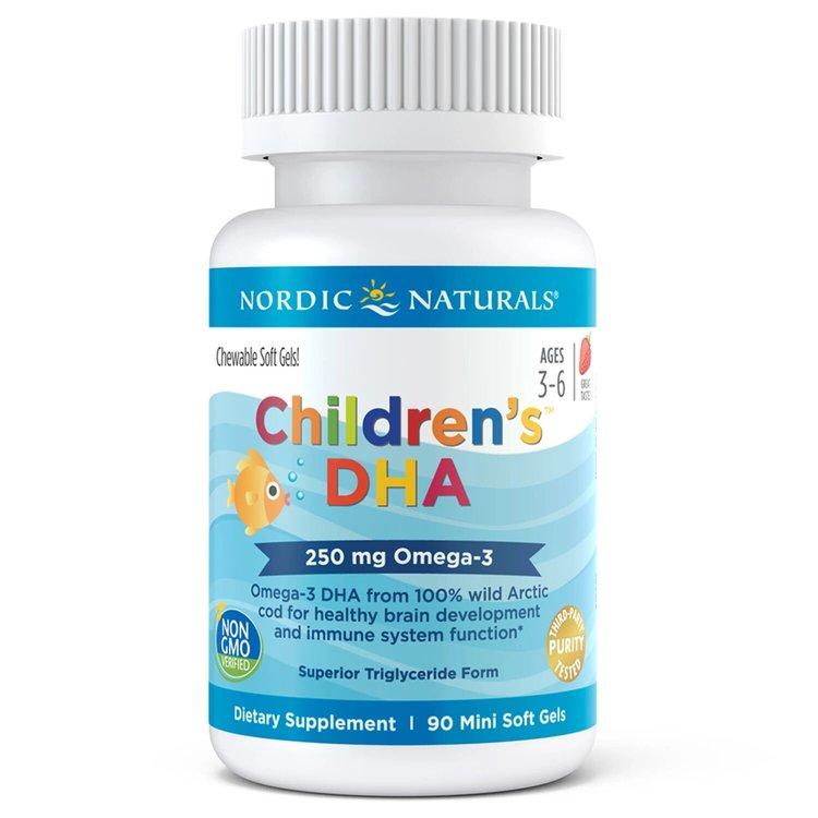 Рыбий жир для детей, Children's DHA, клубника, 250 мг., 90 мини капсул, Nordic Naturals