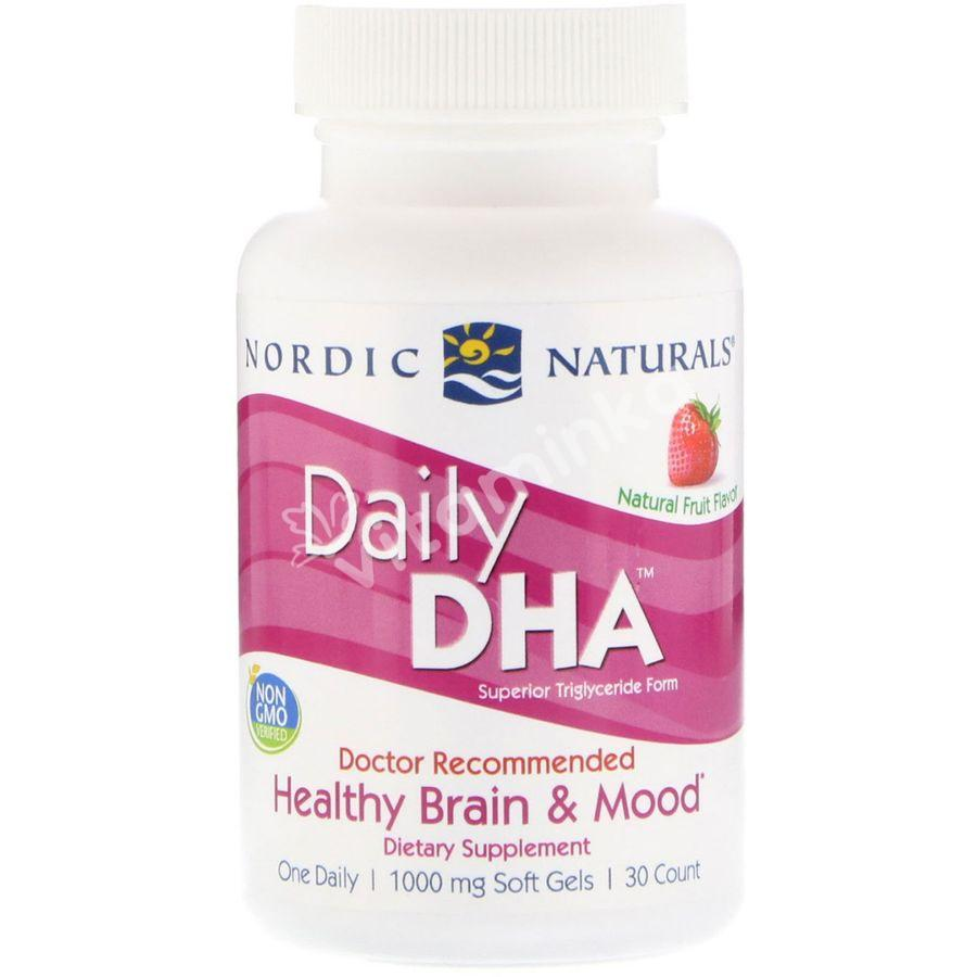 Nordic Naturals, Daily DHA, Strawberry, 1000 mg, 30 Soft Gels