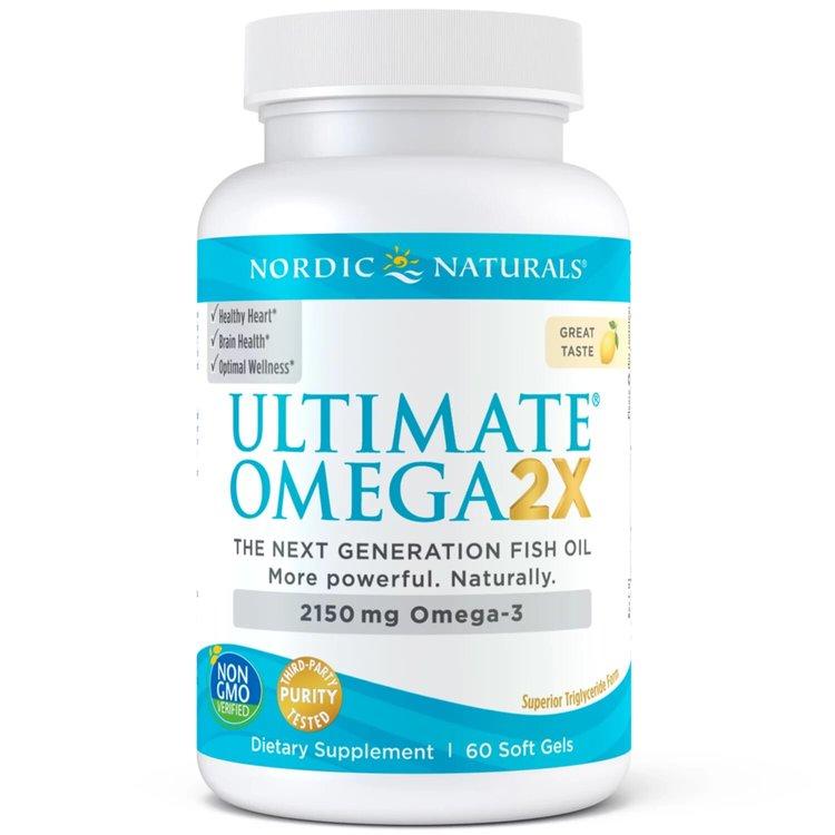 Омега 3, Ultimate Omega 2X, лимон, Nordic Naturals, 60 капсул