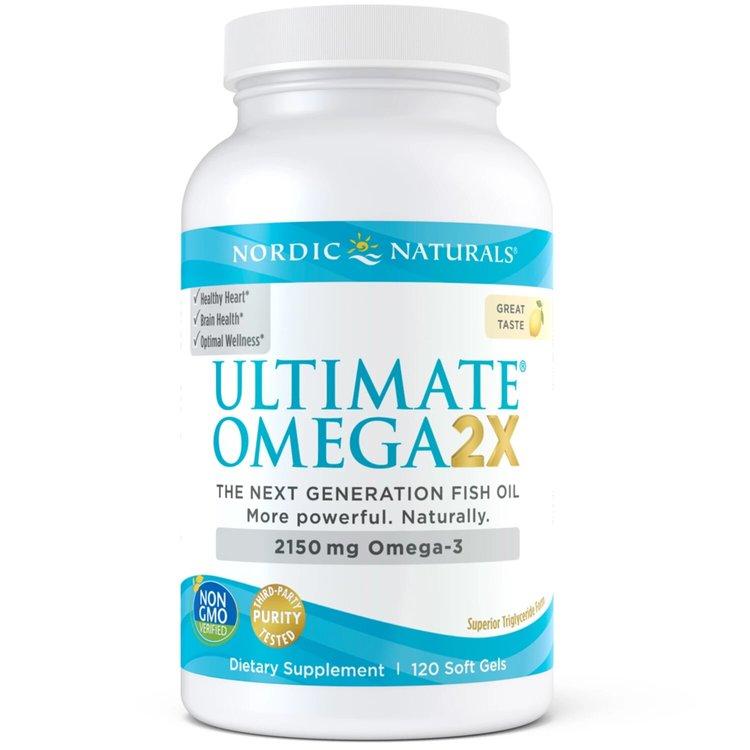Омега 3, Ultimate Omega 2X, лимон, Nordic Naturals, 120 капсул