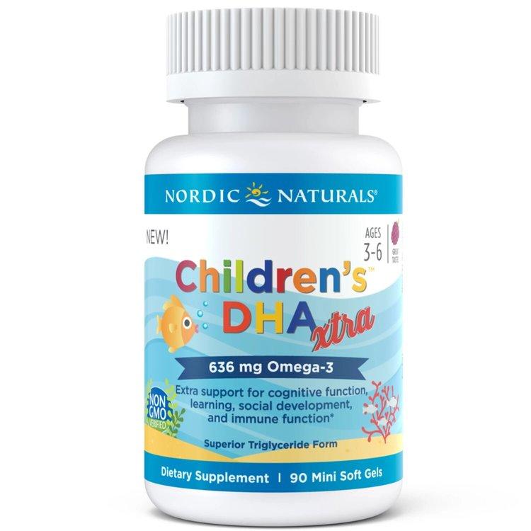 Омега 3 для детей, Xtra, 636 мг., ягодный вкус, Nordic Naturals, 90 мини капсул