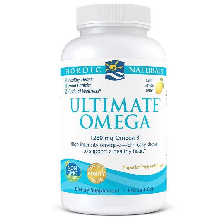 Омега 3,  Ultimate, 1280 мг., лимон, Nordic Naturals, 120 капсул