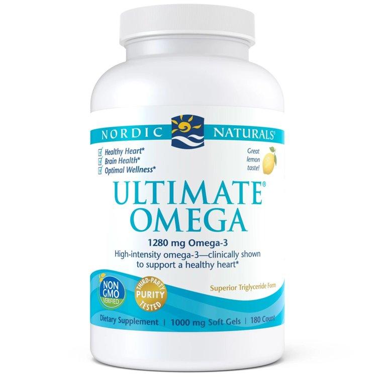 Омега 3, Ultimate, 1280 мг., лимон, Nordic Naturals, 180 капсул
