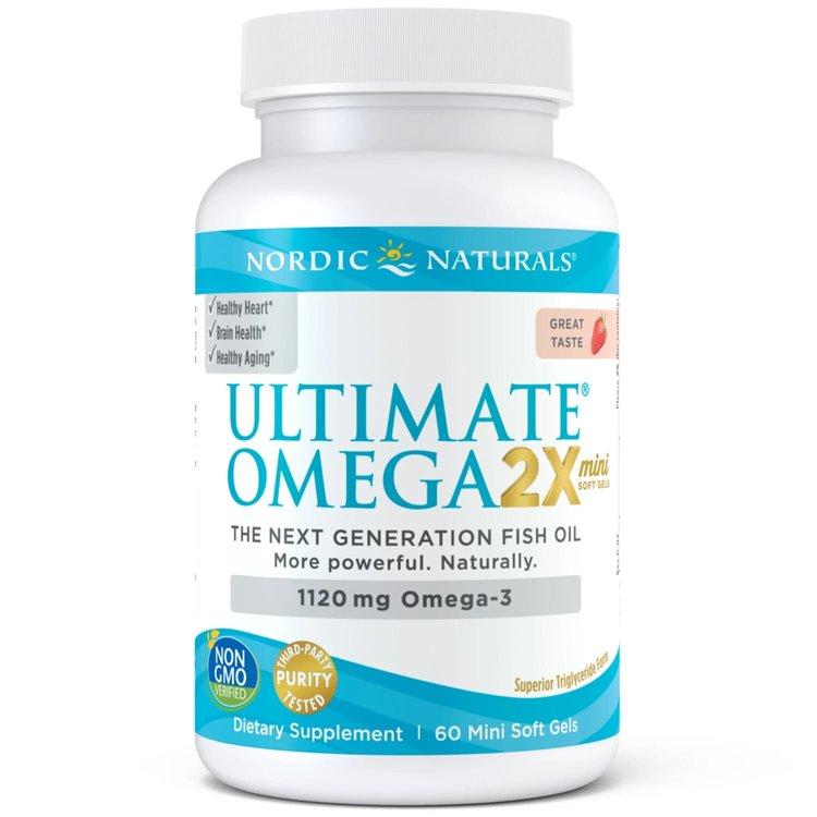 Омега 3, Ultimate 2X, 1120 мг., клубника, Nordic Naturals, 60 мини капсул