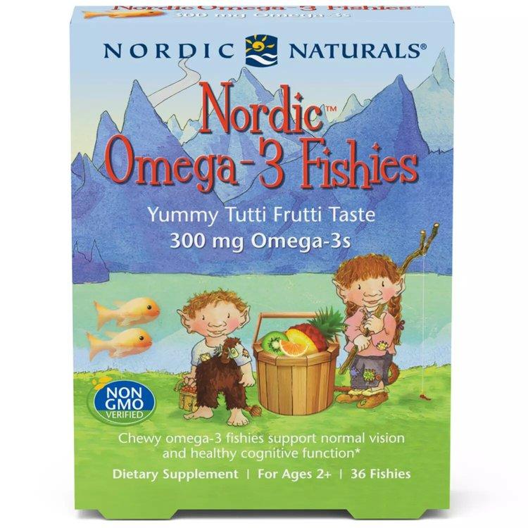 Омега 3 для детей, 300 мг., Fishies, тутти фрутти, Nordic Naturals, 36 конфет
