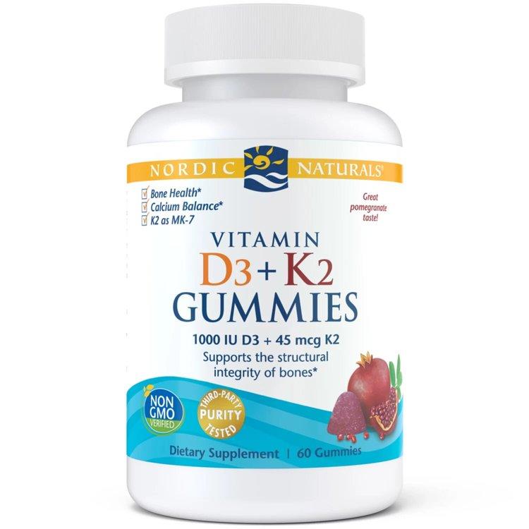 Витамин D3 + K2, Gummies, гранат, Nordic Naturals, 60 конфет