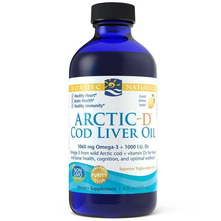 Жир печени трески с витамином D, 1060 мг/25мкг, лимон, Nordic Naturals, 237 мл.