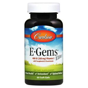 Витамин E, Carlson Labs, 400 МЕ, 60  капсул