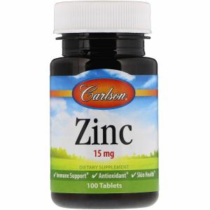 Цинк, Carlson Labs, 15 мг, 100 таб.