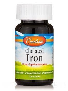 Хелат железа, Carlson Labs, 27 мг, 100 таблеток