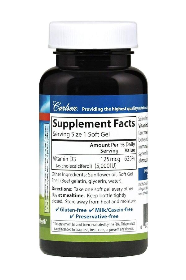 Витамин D 3, Carlson Labs, 5000 МЕ