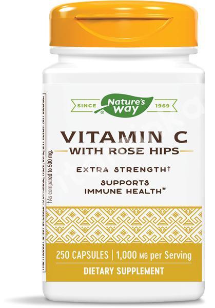 Витамин C с шиповником, 1000 мг., Nature's Way, 250 капсул